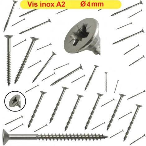 Vis Ø4 inox A2 bois cruciforme ( Lot x 500 ) GAMME PRO 4x25 4x30 4x35 4x40 4x45...