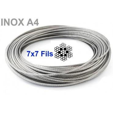 Câble inox 7x7 ( 49 Fils ) inox 316 - A4 Longueur en Couronne ou Rouleau