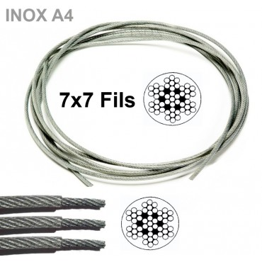 Cable en inox A4 gainé en...